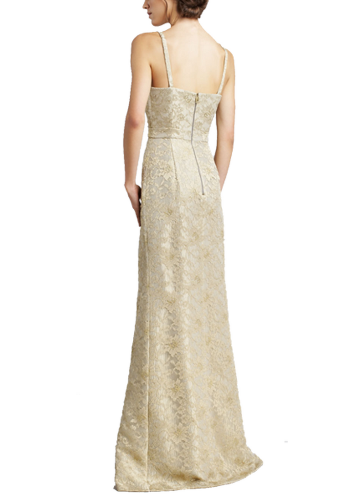Gold Metallic Lace Keyhole Gown
