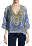 Blue All A Dream Silk Embellished Top (Pre-loved)