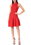 Red Flared Knit Dress