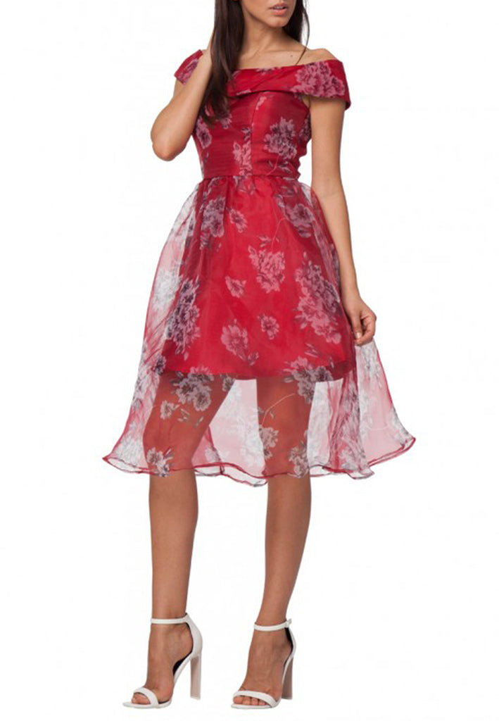 Red Nicole Off Shoulder Floral Print Organza Dress