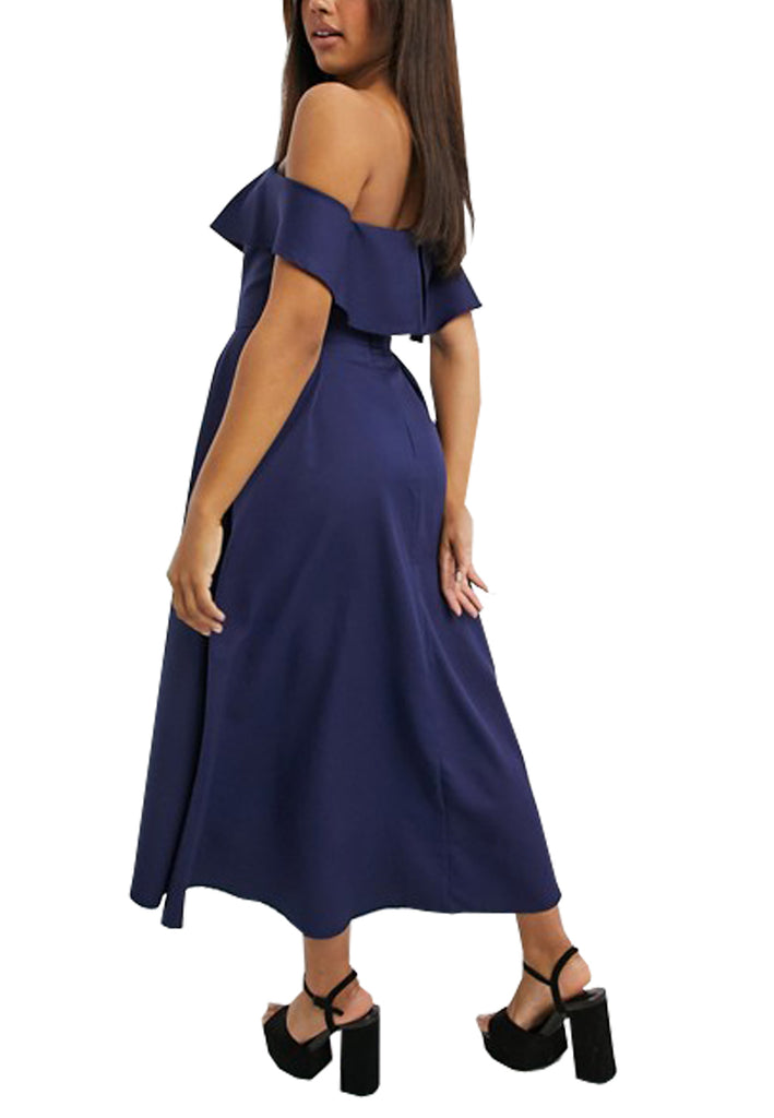 Navy Wanda Off Shoulder High Low Dress