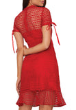 Red Christelle Short Sleeves Geometric Lace Mini Dress