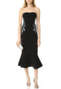 Black Luna Strapless Embroidered Mermaid Midi Dress