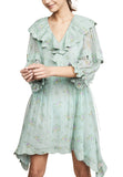 Dusty Green Praire Bouquet Print Silk Dress
