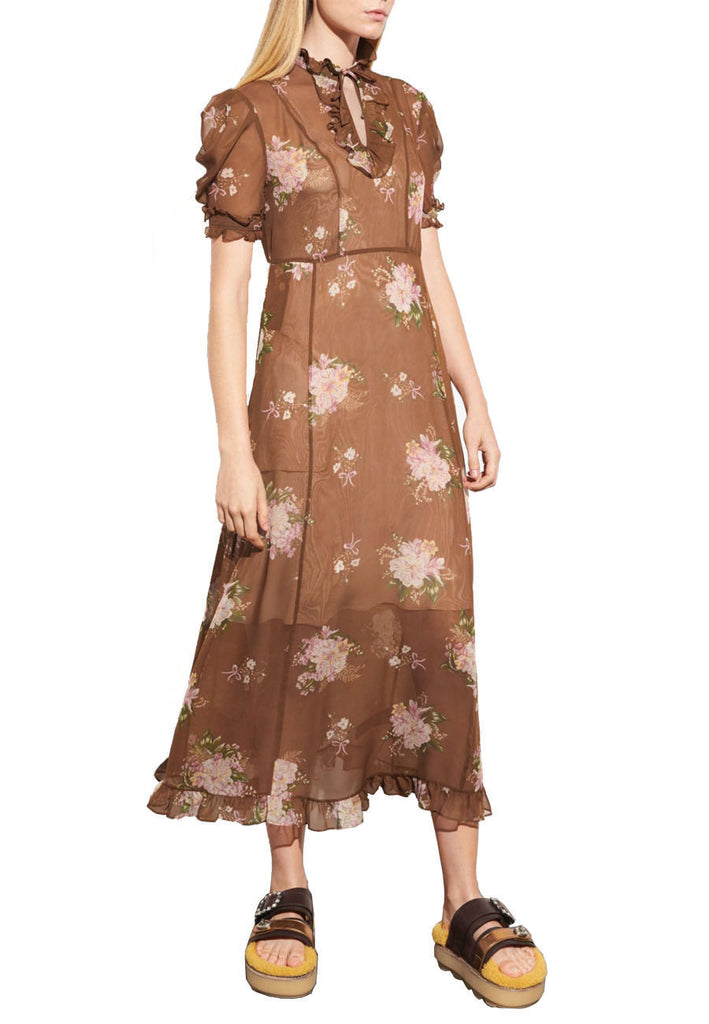Brown Underpinning Floral Midi Dress