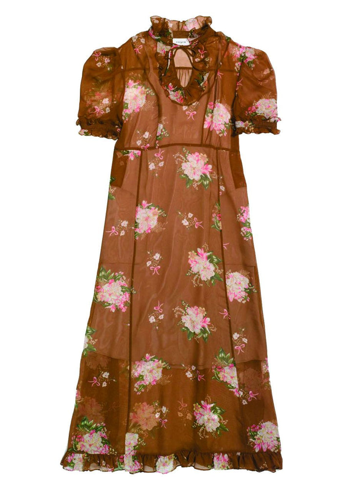 Brown Underpinning Floral Midi Dress (Pre-loved)