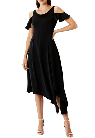 Black Message Strapless Off Shoulder Frill Mini Dress
