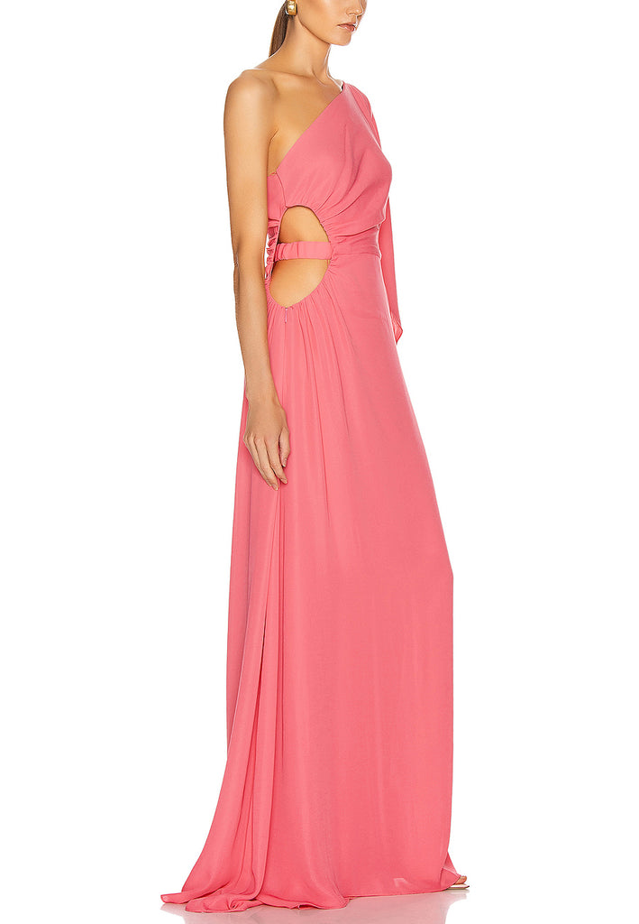 Pink One Shoulder Cosette Silk Gown