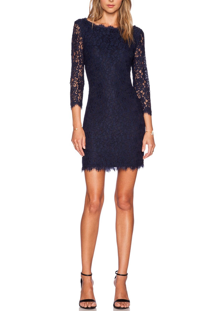 Navy Zarita Lace Mini Dress (Pre-loved)