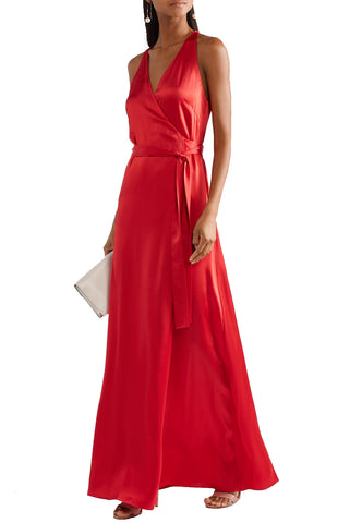 Red Short Sleeves Lace Midi Dress