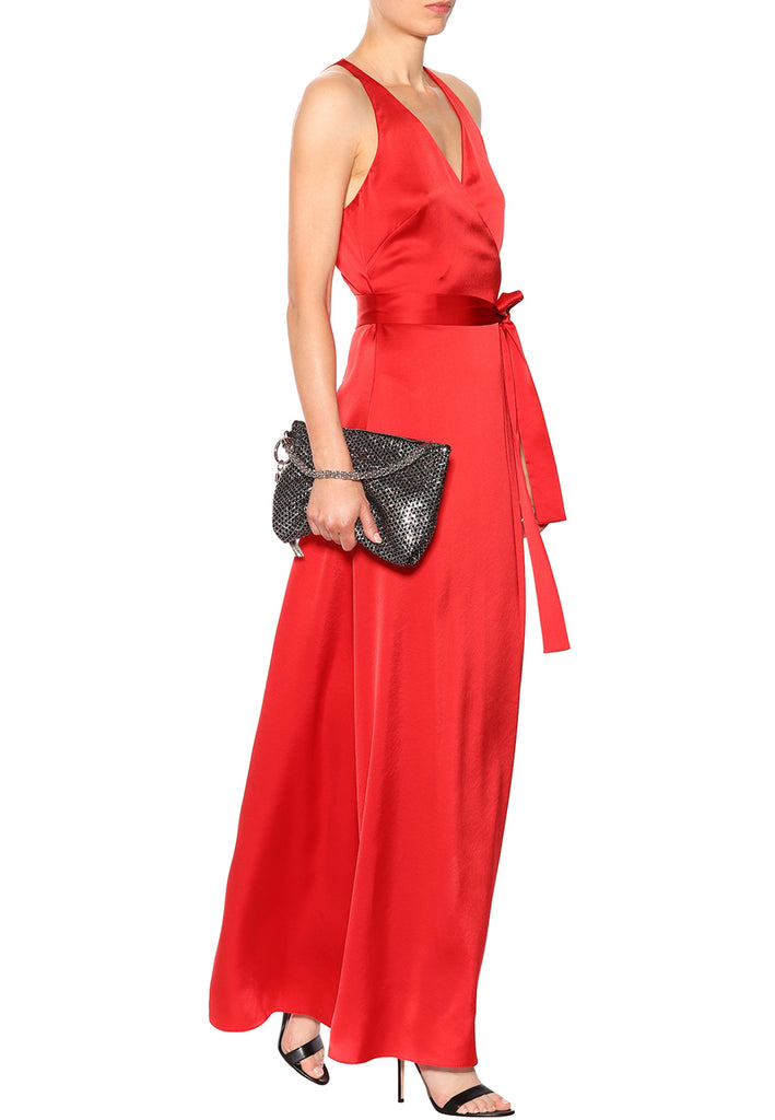 Red Satin Wrap Maxi Dress