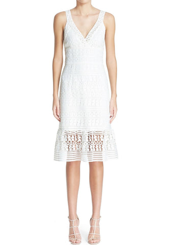 White Sarry Maselle Lace Mermaid Midi Dress