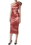 Pink One Shoulder Ruched Satin Midi Dress