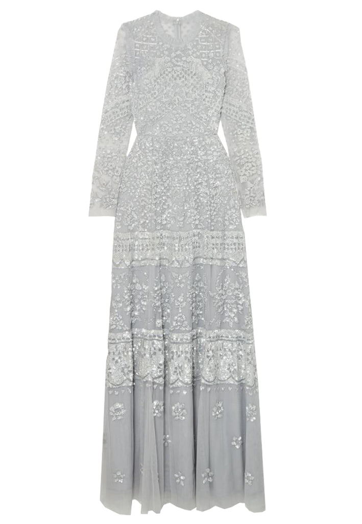 Silvery Blue Aurora Long Sleeves Embellished Gown