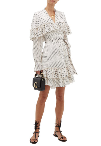 White Asymmetric Ruffle Hem V-Neck Dress