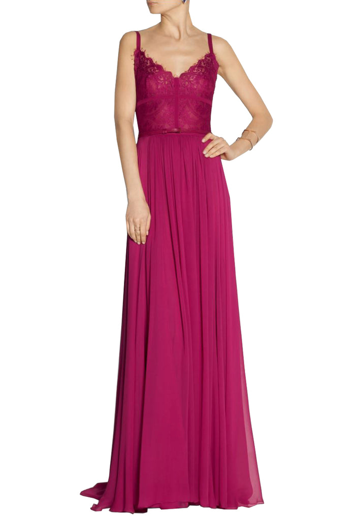 Fuchsia Lace A-Line Gown