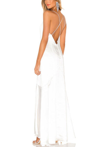 Dark Grey Beaded Racer Back Gown