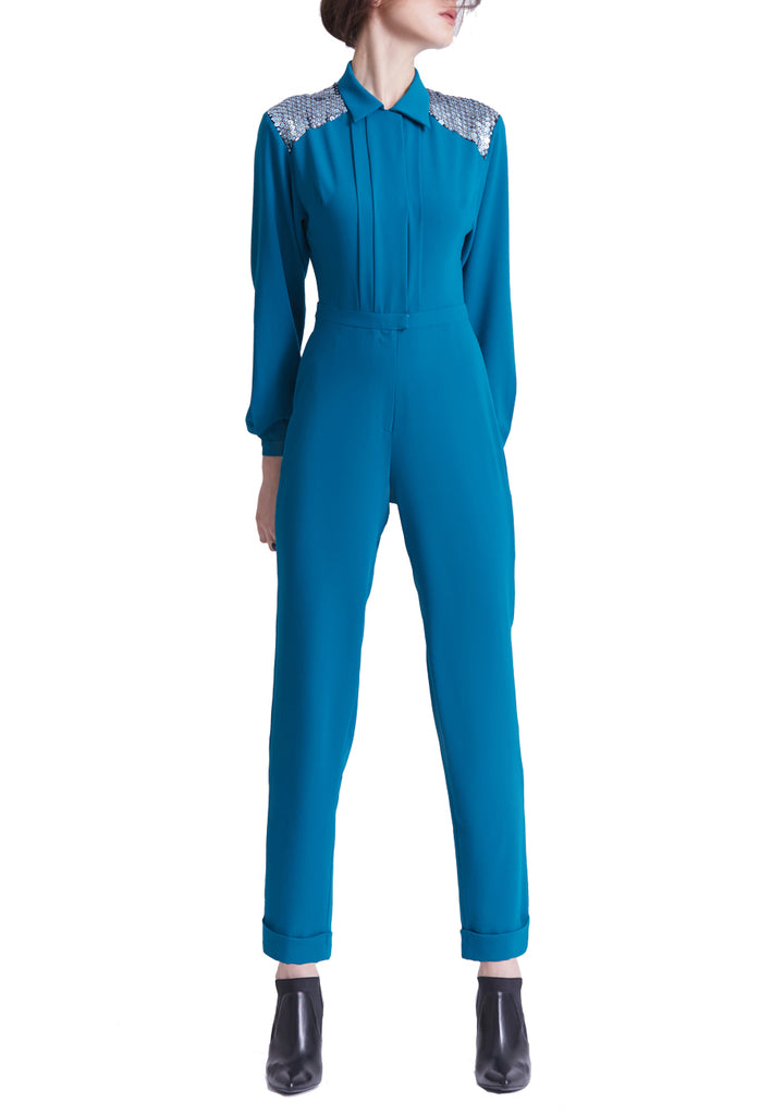 Teal Florence Embellished Yoke Jumpsuit