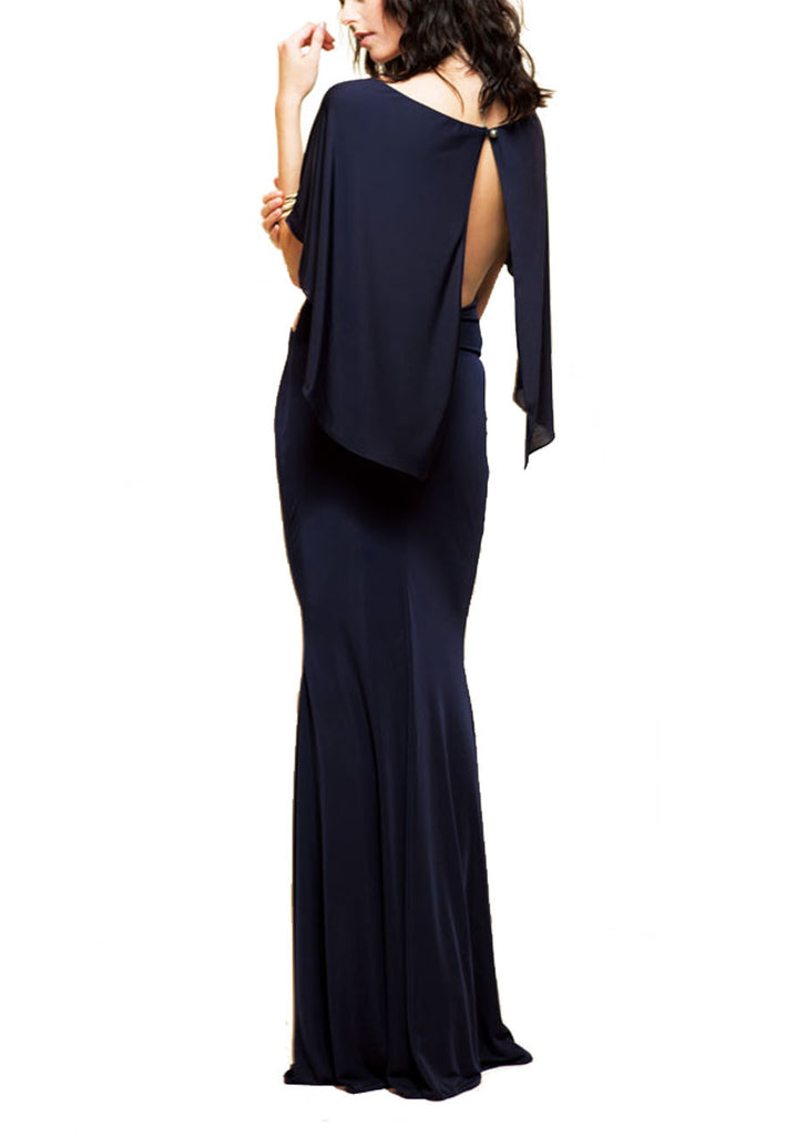 Dark Navy Midnight Cape Open Back Cutout Gown