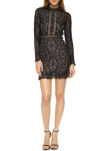 Black Pacey Embellished Low V Neck Mini Dress