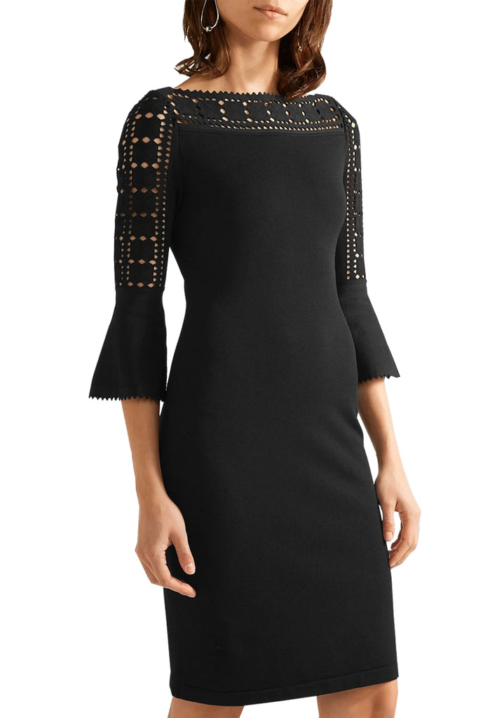 Black Laser Cut Crepe Mini Dress