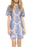 Nude and Blue San Marcos Illusion Floating Floral Embroidery Mini Dress