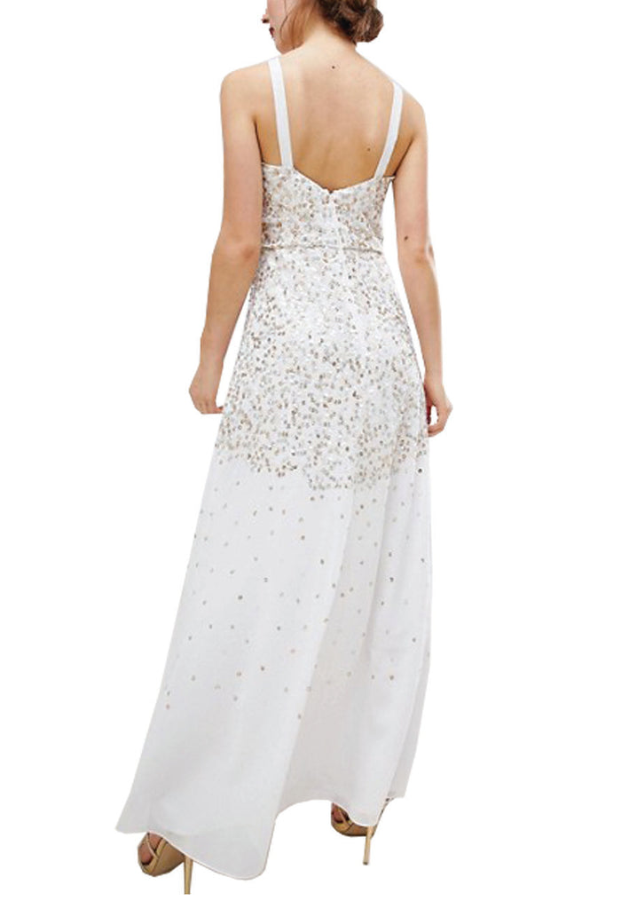 White Scattered Sequins Maxi Dress