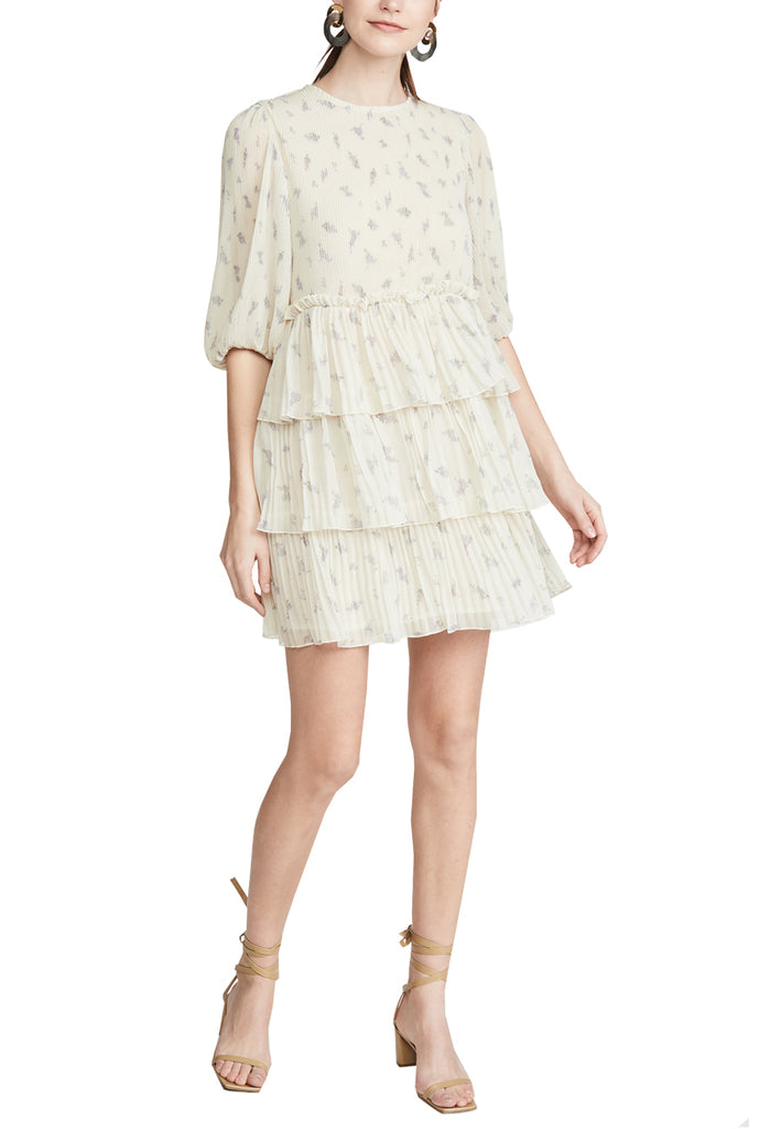 Ivory Tiered Ruffle Floral Print Georgette Mini Dress