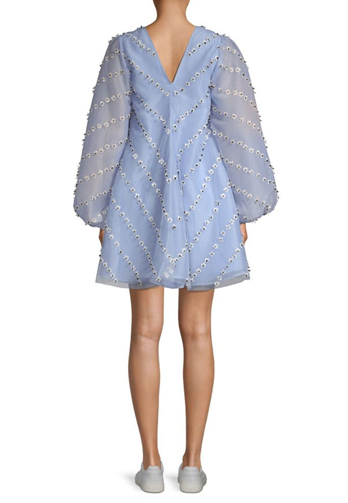 Light Blue Rosenfeld Daisy Appliquéd Organza Mini Dress
