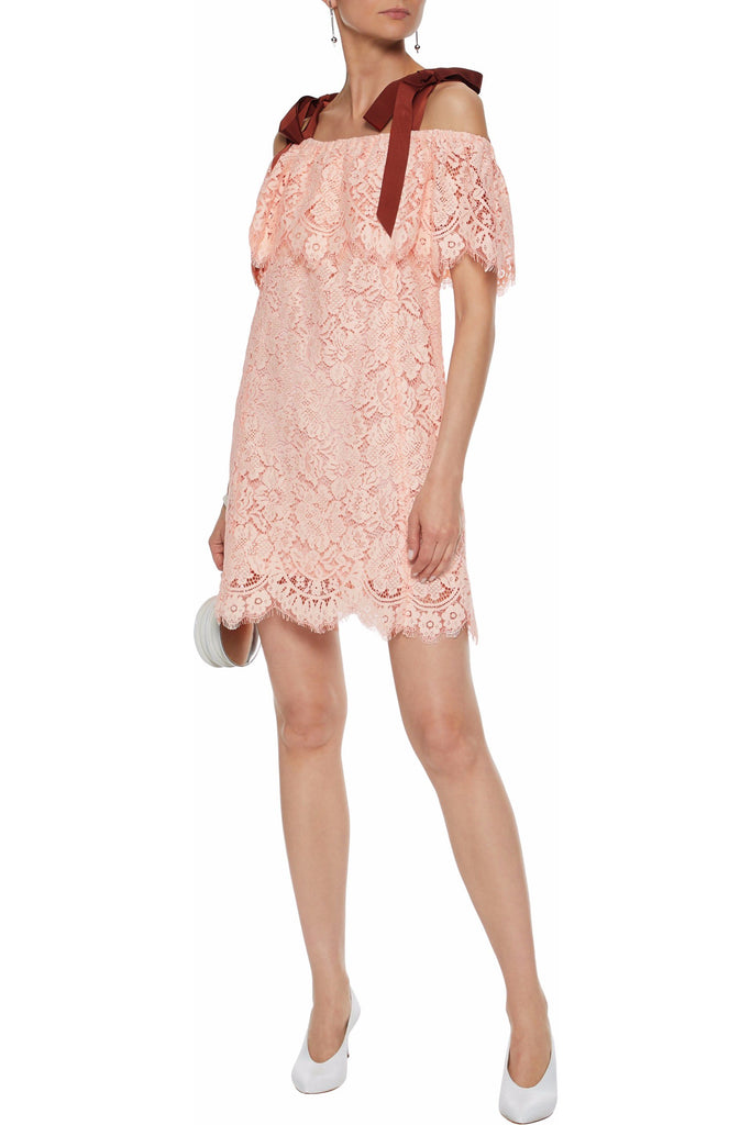 Pink Off The Shoulder Lace with Ribbon Dress