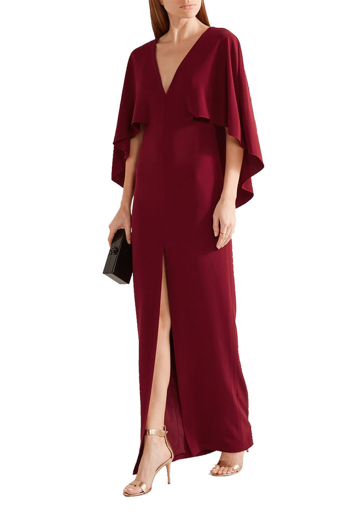 a8c5b5ae292 HALSTON HERITAGE. Burgundy Cape Plunging Back Gown