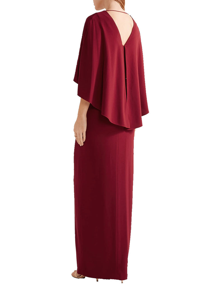 6d556ee1764 Halston Heritage Cape Plunging Back Gown