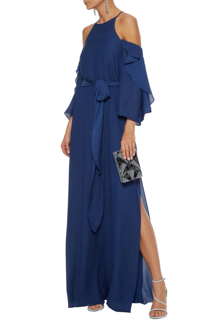Blue Off Shoulder Seersucker Gown