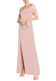 Blush Cold Shoulder Satin Crepe Maxi Dress