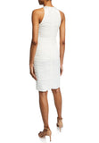 White Ruched Crepe de Chine Midi Dress