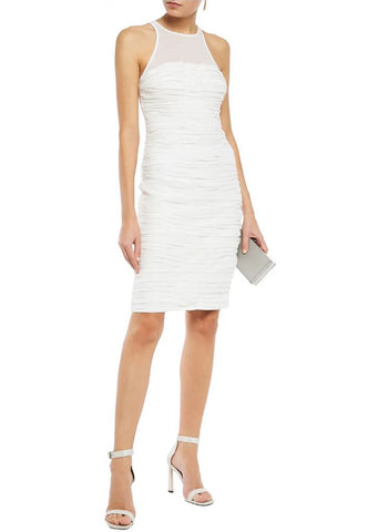 White One Shoulder Cutout Asymmetrical Crepe Dress