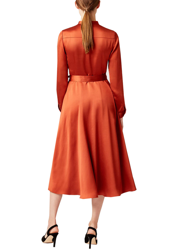 Brick Red Thandi Satin Shirt Midi Dress