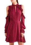 Burgundy Hanie Cold Shoulder Voile Dress