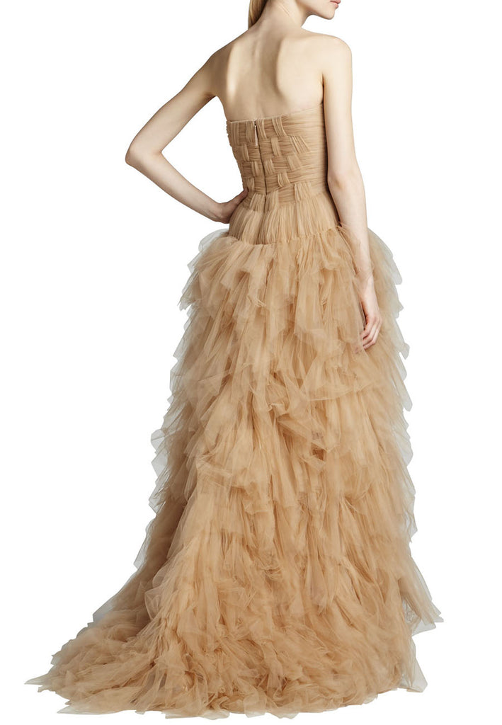 Nude Strapless Layered Tulle Gown
