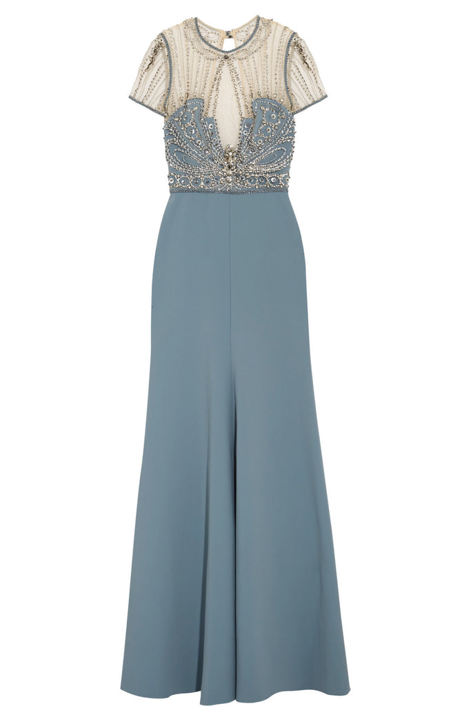 Blue Embellished Crepe Tulle Lace Open Back Gown