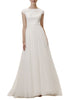 White Fitzwater Cap Sleeves Tulle Wedding Gown