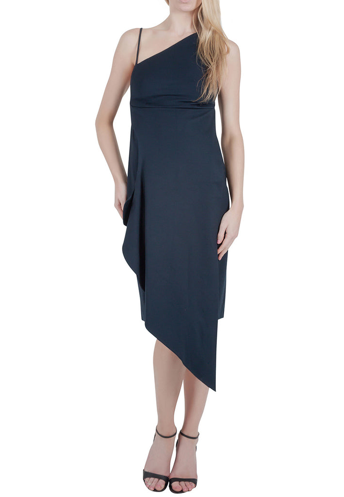Navy Asymmetric Hem Midi Dress