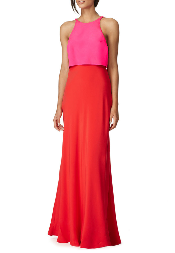 Pink and Red Open Back Colour Block Crepe Gown