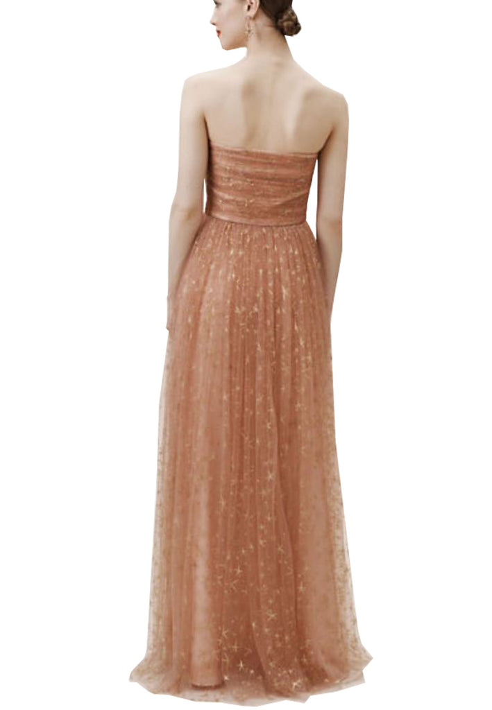 Nude Brenda Strapless Star Print Tulle Gown