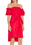 Red Off Shoulder Front Tie Bow Midi Dress