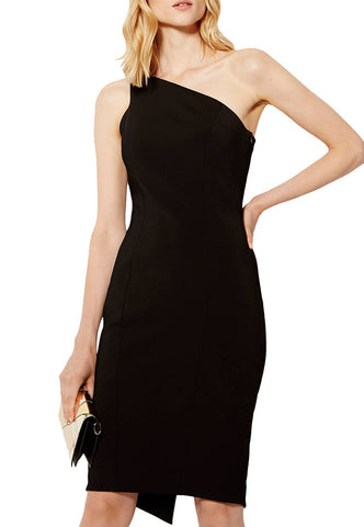 Black Taura Scallop Edge Cutout Back Mini Dress