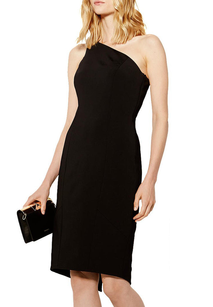 Black One Shoulder Pencil Dress
