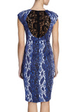 Blue Snake Print Lace Back Bodycon Dress
