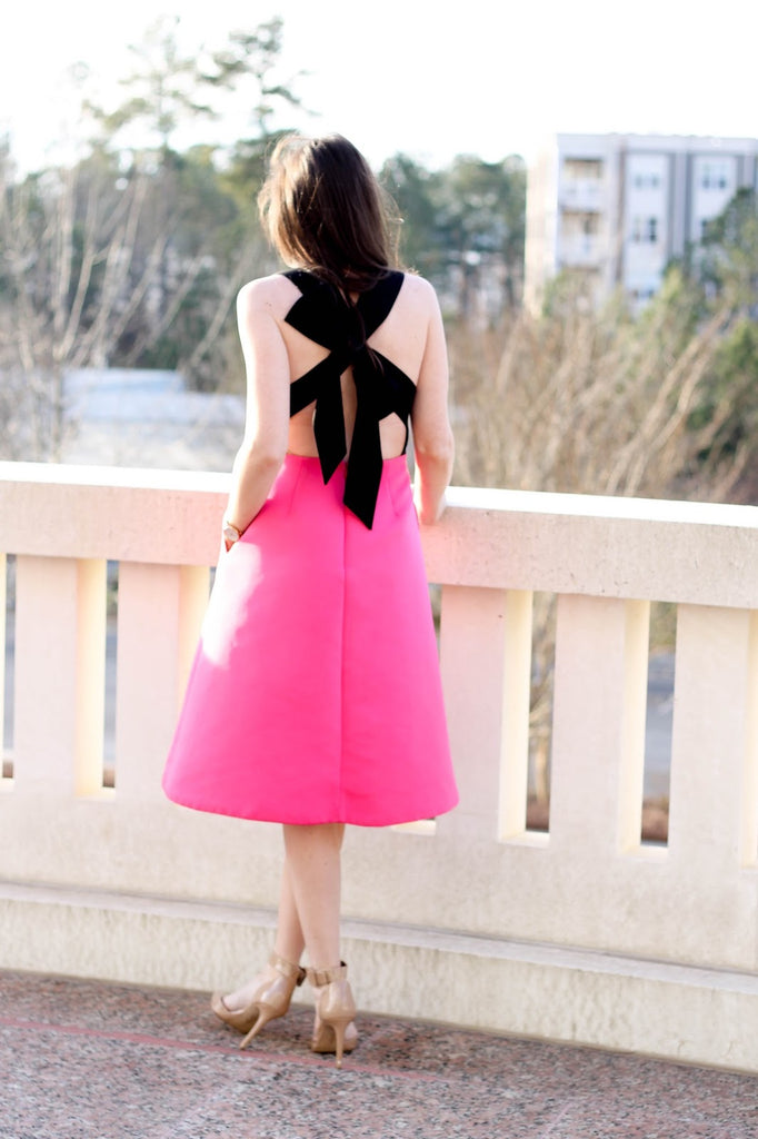 Black and Pink Colour Block Bow Back Mini Dress