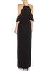 Black Much More Draped Cold Shoulder Keyhole Maxi Dress